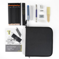 Conda 34Pcs Pencil Set Charcoal Earser Drawing Pencil Sketch Set for Drawing Painting with Carry Bag Professional Sketching Kit