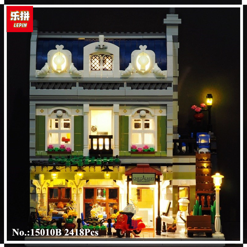 IN STOCK LEPIN 15010B 2418 pcs Streetview The Parisian Restaurant Set with Light Version Building Blocks Bricks Toys 10243 dhl new 2418pcs lepin 15010 city street parisian restaurant model building blocks bricks intelligence toys compatible with 10243
