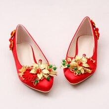 Rot Satin Silk Flache Vintage Brautkleid Schuhe Chinesischen Stil Gold Blume Hochzeit Schuhe Frau Abendgesellschaft Schuhe