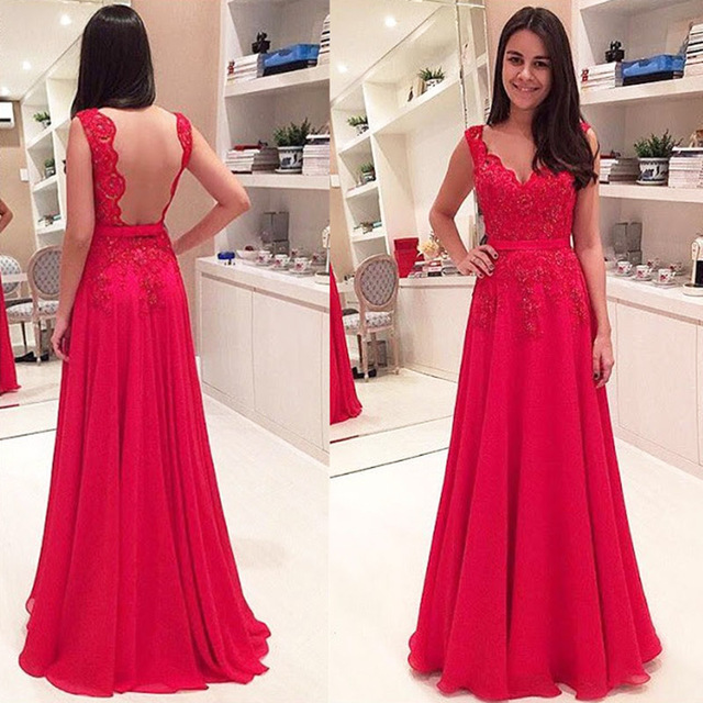 2017 Beautiful Charming Evening Dresses V-Neck Applique Lace Floor Length Red Elegant Formal Party Prom Gowns Robe De Soiree