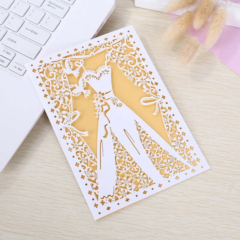 50pcs Laser Cut Wedding Invitations Card Wedding Dress Elegant Greeting Cards custom Envelopes Wedding Party Favors Decorations in Cards Invitations from Home Garden