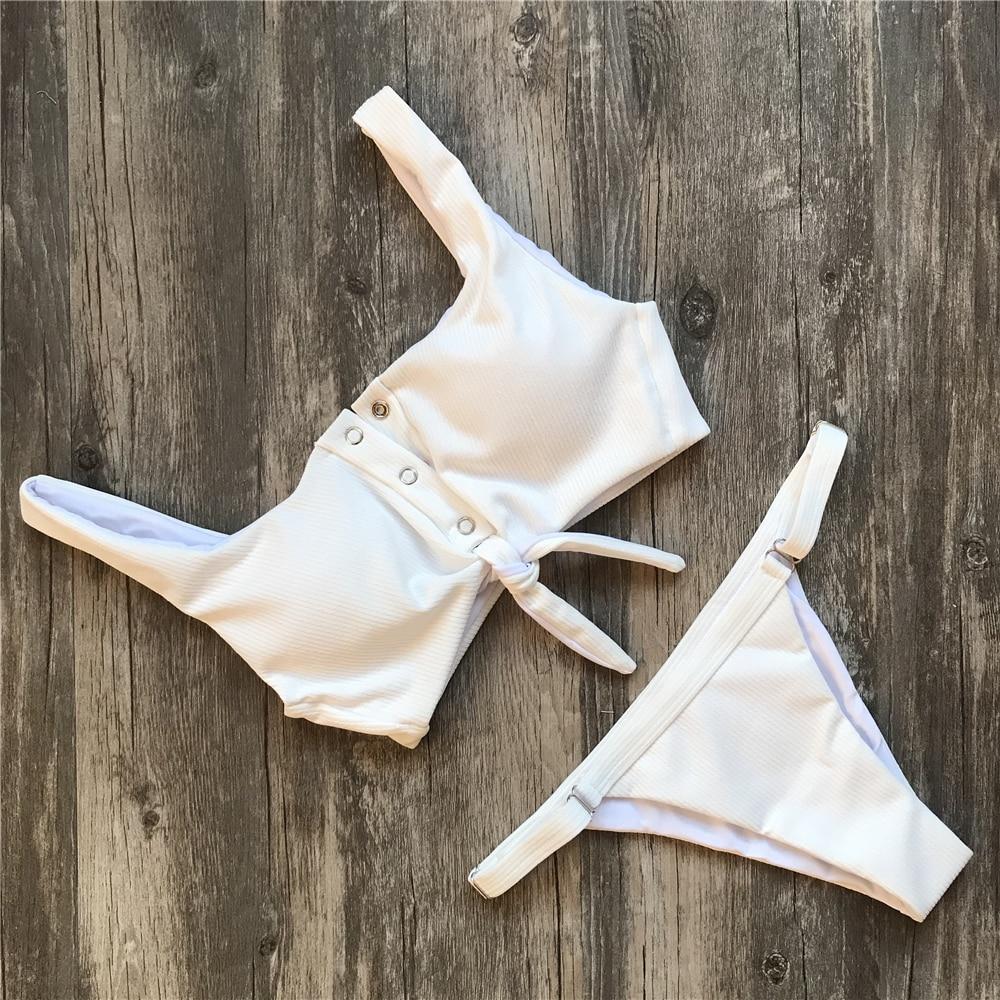 HTB1KuZnXN6I8KJjSszfq6yZVXXaT Ariel Sarah Brand Sexy Swimwear Solid Bikini Women Swimsuit V Neck Bikinis Set Pants Adjust Bathing Suit Sport Style Biquini