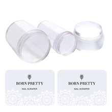 BORN PRETTY 3Pcs Clear Silicone Jelly Stampers with 3Pcs Christmas Scrapers Manicure Nail Art Stamping Tool