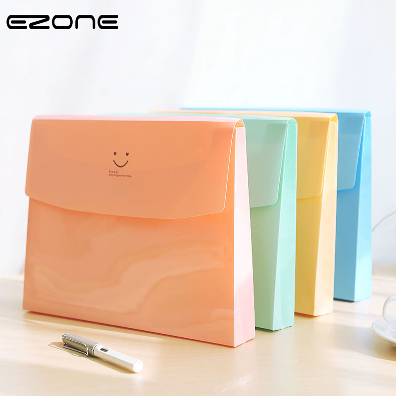 EZONE Candy Color File Bag Kawaii Smile Face Printed Document Bag File Folder A4 Organizer Paper Holder Office School Supplies