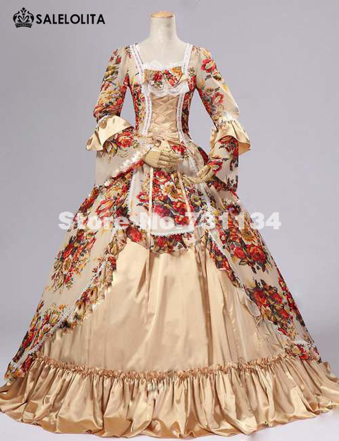 2017 High Quality Yellow Floral Print Renaissance Victorian Dress