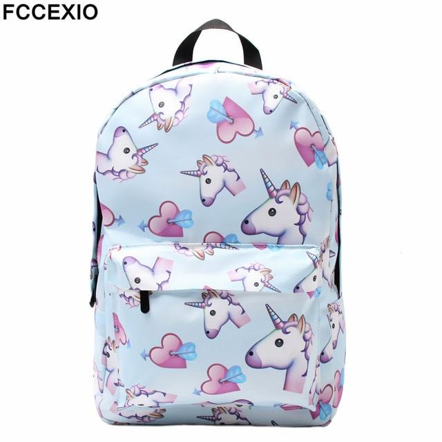 13ba64939ba FCCEXIO Blue Unicorn 3D Printing Backpack Women Bag Top Quality Bookbag  School Bags for Teenage Girls Polyester Backpacks