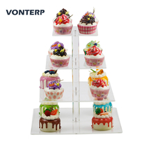 VONTERP 1 pc square transparent 4 Tier Acrylic Cupcake Display Stand /acrylic cake stand Square(4 between 2 layers)
