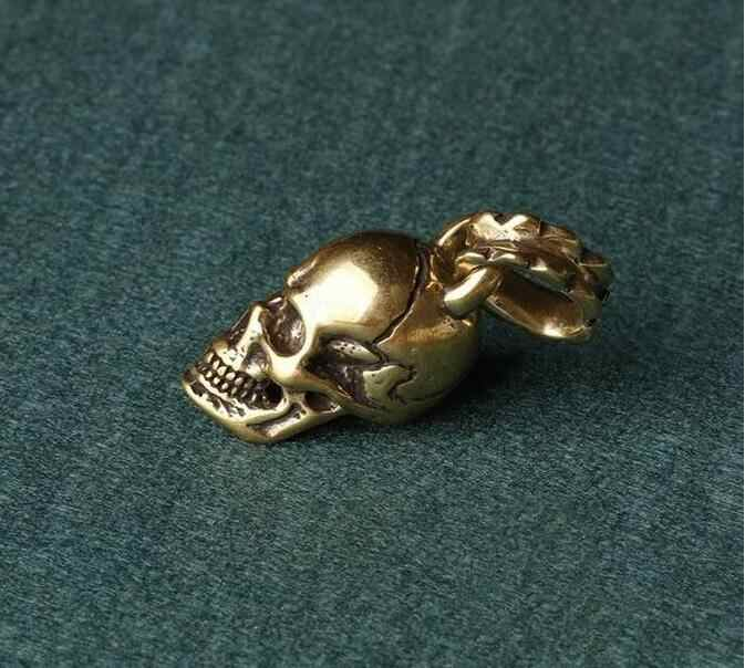 Statua di rame Cinese vecchia collezione di antiquariato in ottone puro piccolo pendente del cranio