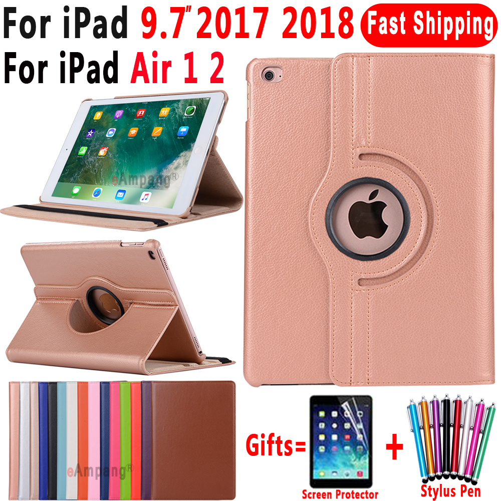 360 Degree Rotating Leather Smart Cover Case for Apple iPad Air 1 Air 2 5 6 iPad 9.7 2017 2018 5th 6th Generation Coque Funda