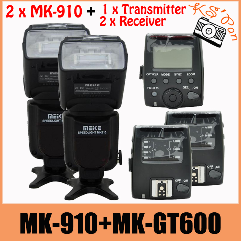 2 Sets Meike MK-910 MK910 Flash For Nikon I-TTL 1/8000s SYNC Flash Speedlight Speedlite + MK-GT600 Trigger Transmitter Receiver i ttl wireless flash radio trigger kit 1 transmitter 2 receiver for nikon sb910 sb900 sb700 speedlight camera remote control