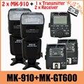 2 sets meike mk-910 2.el mk910 flash para nikon i-ttl 1/8000 s disparador de sincronización de flash speedlite + mk-gt600 transmisor receptor