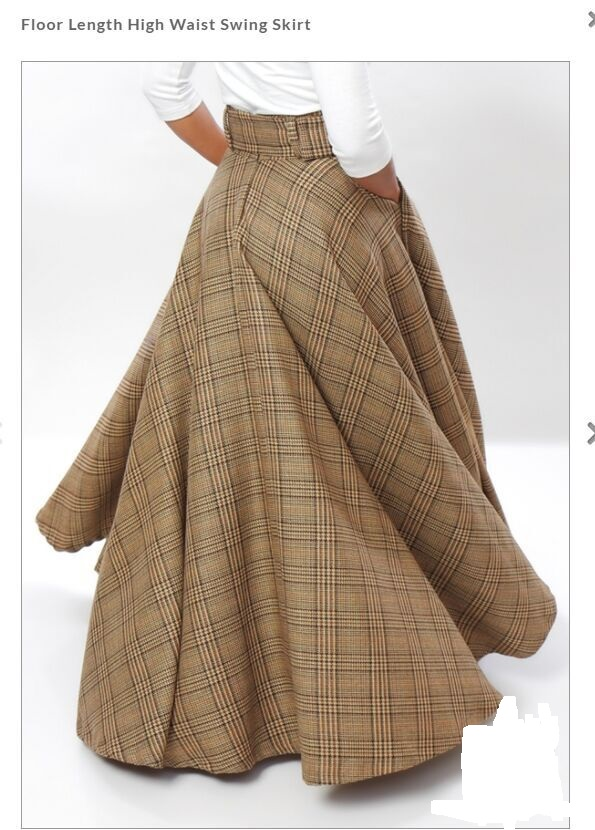 Womens LONG SKIRT Plus Size Plaid Checkered Tartan Spring Summer High Waist Cotton Maxi Swing Elegant Skirt 2018