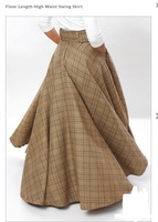 Women's LONG SKIRT Plus Size Plaid Checkered Tartan Spring Summer High Waist Cotton Maxi Swing Elegant Skirt 2018