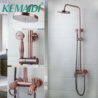 KEMAIDI Flexible Ross Retro Copper Wall mount 8 Inch Shower Head + Control Valve Hand Sprayer Bathroom Shower Set