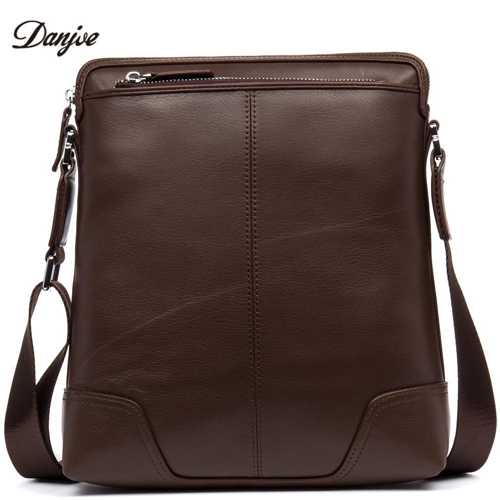 DANJUE Genuine Leather Crossbody New Bag Male Brand Business Shoulder Men High Quality Soft Leather Daily Bag Thin Men Casual