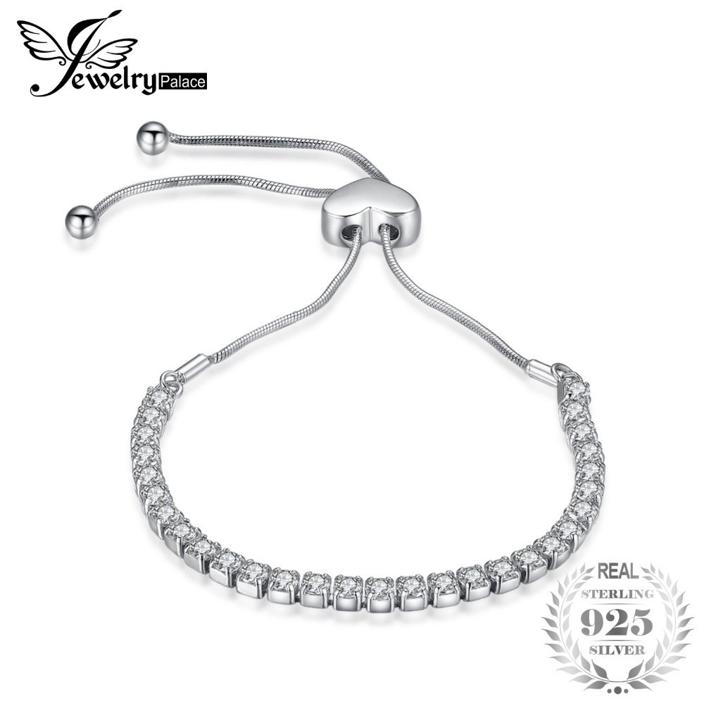 все цены на JewelryPalace Love Eternity 4ct Cubic Zirconia Adjustable Bracelet 925 Sterling Silver Gifts For Women Fashion Jewelry онлайн
