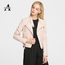 Punk Pink Leather Jacket Women New 2016 Spring Booty Brand Short PU Coat Blouson Cuir Femme Veste Cuir Femme BJ15P5006