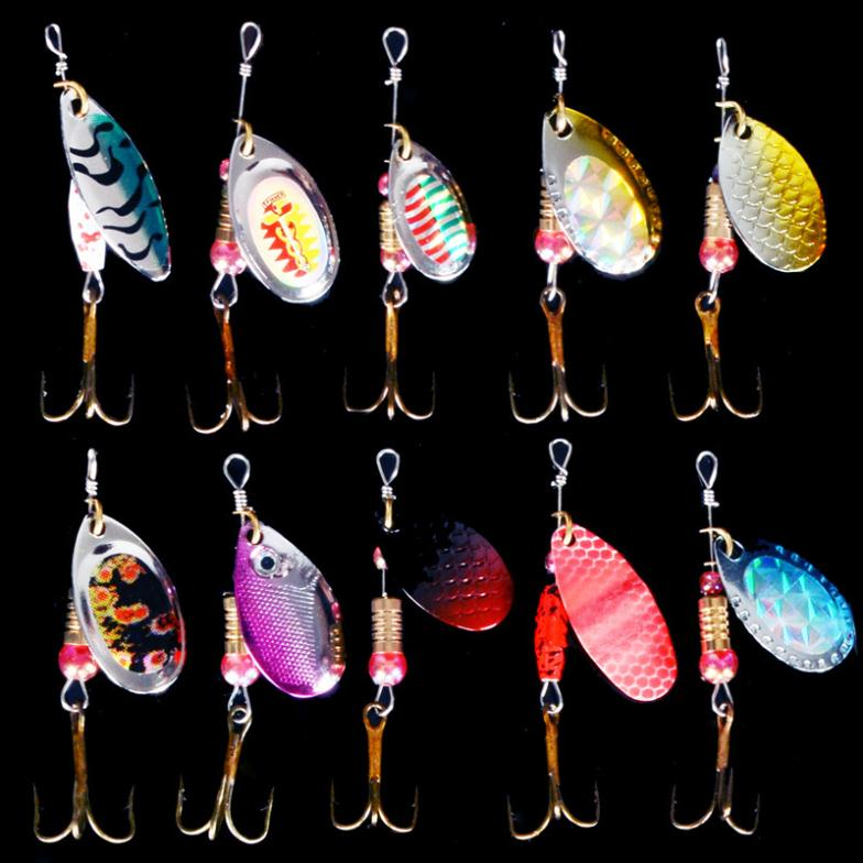hot sale Spinner Fishing Lures Fishing spinner Tackle paillette spoon Lures Mix Color Free shipping 5pcs fre