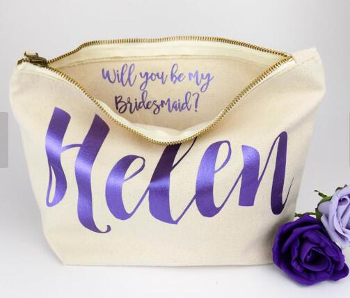 Personalised Bridesmaid Gift Make Up Bags Will You Be My Maid Of Honour Unique