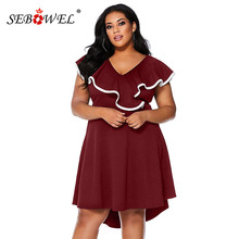 цена на SEBOWEL Plus Size Red Frill Dip Hem Ruffles Black Dresses Woman Elegant Summer Female High-low Party Large Size Sleeveless Dress