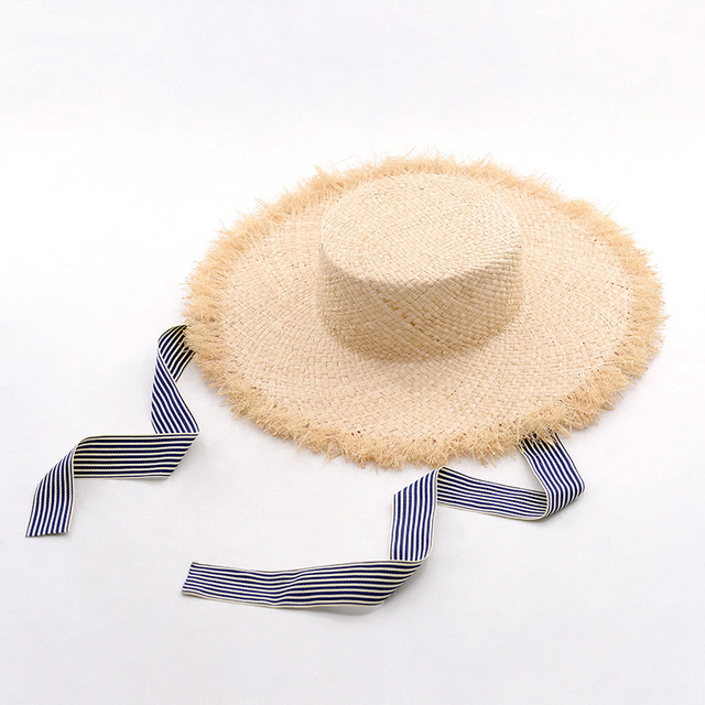 Muchique Boater Hats with Ribbon Tie Raffia Straw Summer Sun Hat for Women  Vintage Hats with Flat Brim and Fray Edge a0bec90fe51