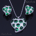 Free Fast Shipping - Paved Heart Style Green imitation Emerald Silver Plated Jewelry Sets Free Gift Bag H0019
