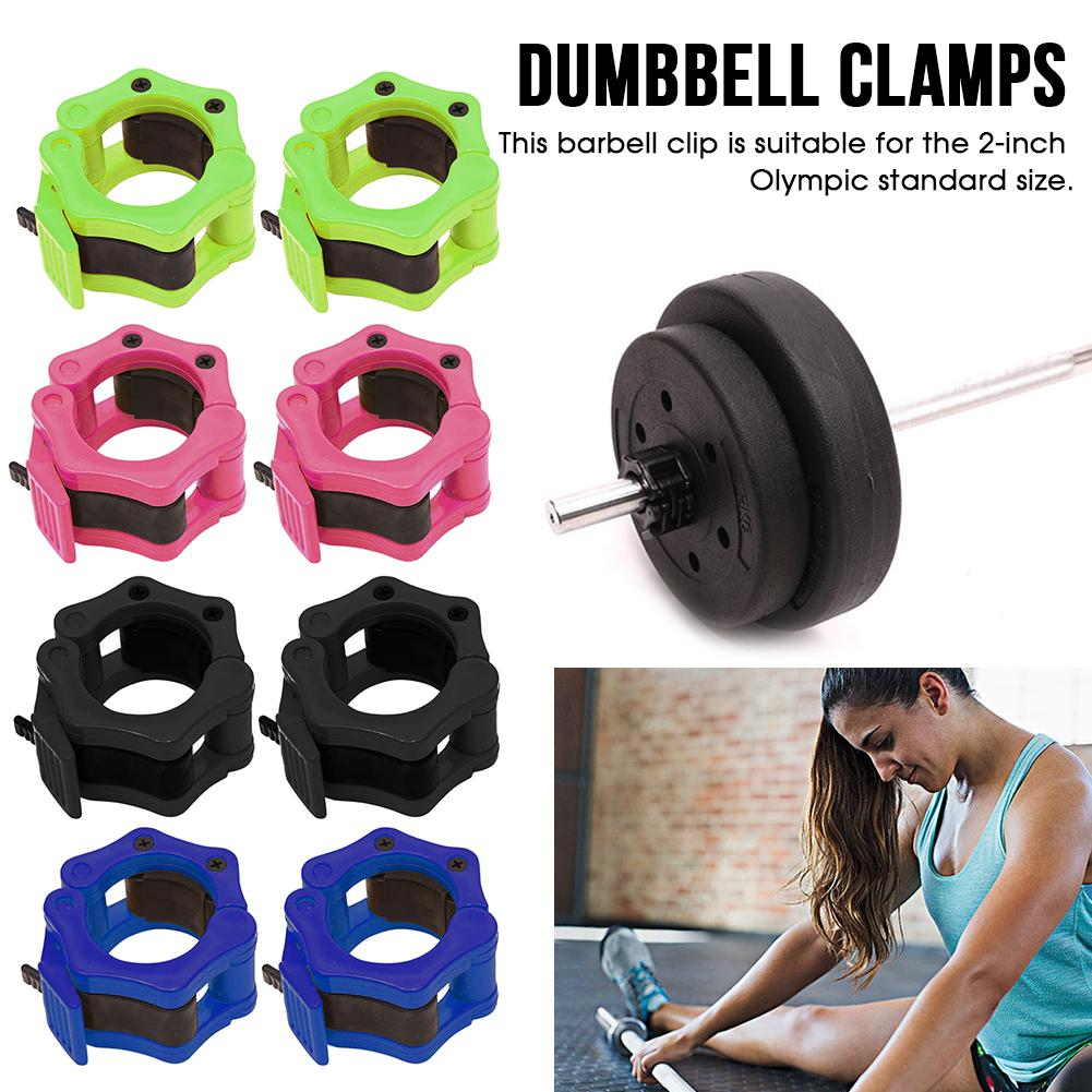 Galleria fotografica 1pair 50mm/2 Inch Crossfit Barbell Clamps Dumbbell Collar Buckle Lock Fitness Musculation Spring Weightlifting Bodybuilding Clip
