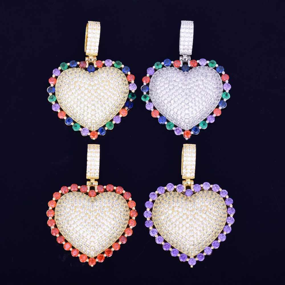 Colorful Heart Pendant Necklace With Cuban Chain Gold Silver Color Cubic Zircon Men's Women Hip hop Jewelry For Love Gift