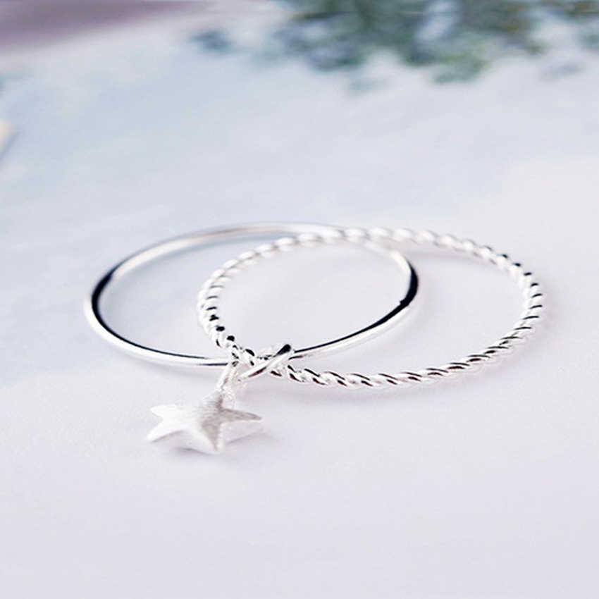 QIAMNI кулон из стерлингового серебра 925 пробы с милыми звездами двойное кольцо на палец праздничный подарок на Рождество для женщин девушка аксессуары ювелирные изделия