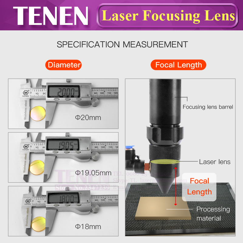 Image 5 - China PVD ZnSe Dia.12 18 19.05 20mm FL38.1 50.8 63.5 76.2 101.6mm CO2 Laser Focus Lens For Co2 Laser Cutting Engraving Machine-in Lenses from Tools