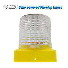 Solar Warning Lights 4pcs Leds White Light Solar-powered Warning Lamps Obstruction Lamp/ Beacon Light/ Traffic Warning Lights(China)