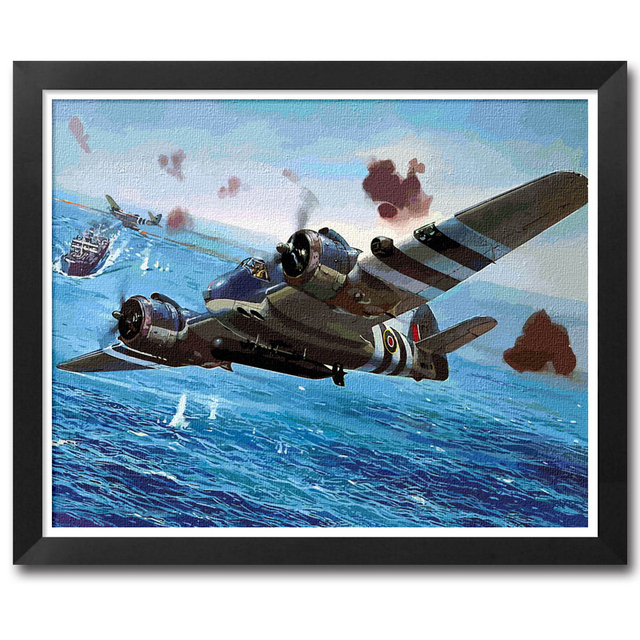 Paint By Numbers Adult Kit RAF WW2 Bristol Beaufighter Torbeau Torpedo Bomber