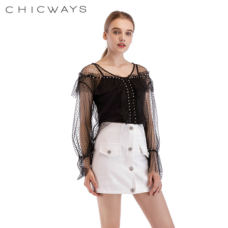 22d1447800f8c Chicways Ruffled Dotted Mesh Top transparent Sexy Women Long Sleeve Mesh  Blouse pearl chain Tops Turtleneck club female blouse-in Blouses   Shirts  from ...