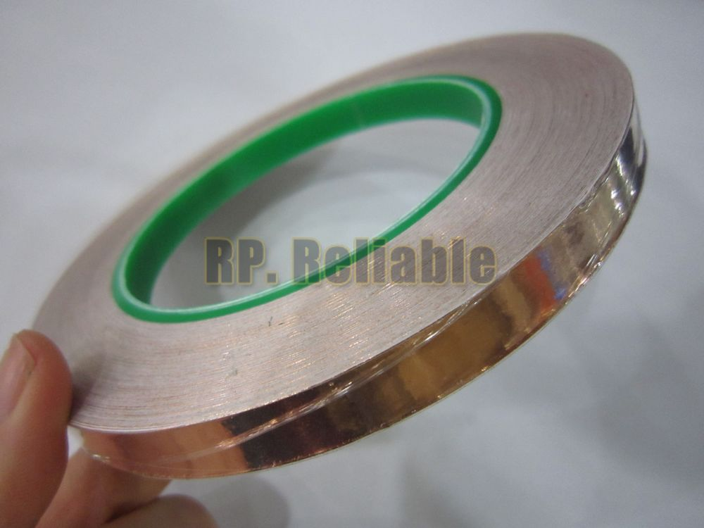 1x 16mm*30M*0.06mm Two Sides Conductive Copper Foil Adhesive Tape EMI Masking Electromagnetic Shield, antenna