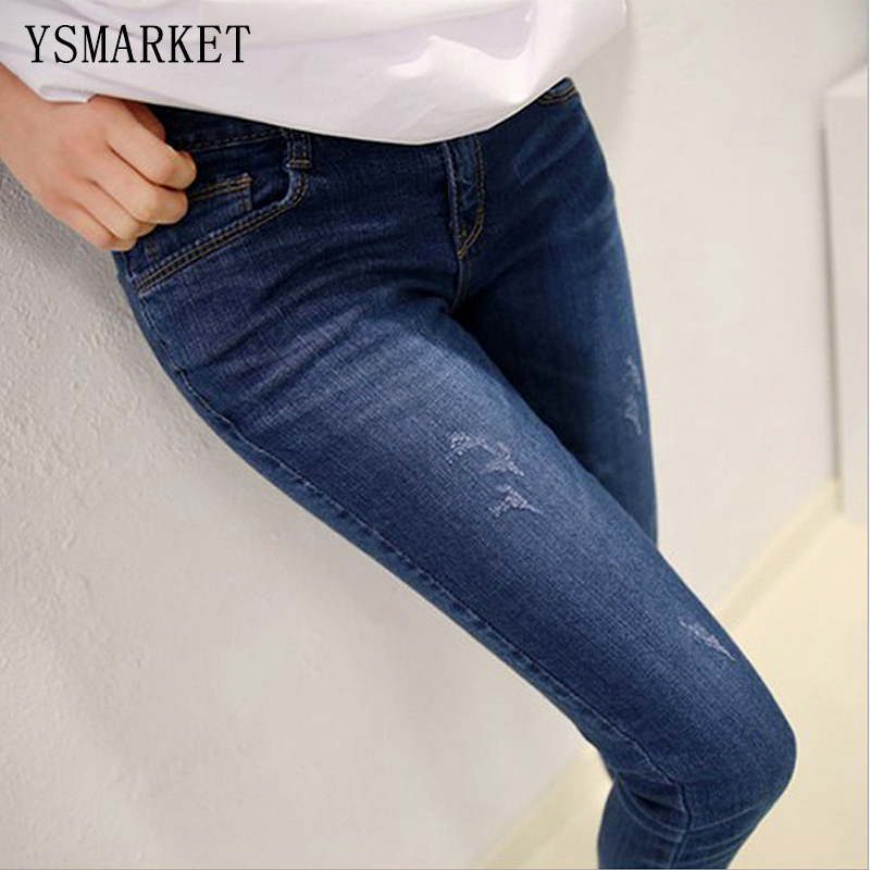 ФОТО 2017 Stretch Ripped Fashion Brand Plus Size Jeans Navy Casual Denim Pants Woman Pencil Slim Jean Trousers XL-5XL With Button 975