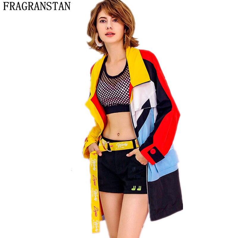 2018 kobiet wiosna jesień nowy na co dzień luźne BF trencz kobiet Street Style Plus rozmiar zamki szwy długi odzież wierzchnia LY540 w Trencze od Odzież damska na  Grupa 1