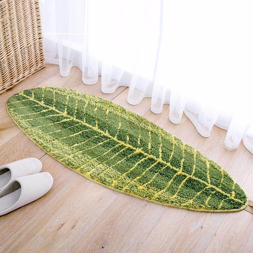 Tapis enfants chambre vert feuille tapis pour salon nouvelle Simulation fleur maison chambre avant porte anti-dérapant tapis K419