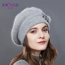 e0664fd7fde95 ENJOYFUR Cashmere Beret Hat Female Rabbit Knitted Winter Hats Caps Lady  Middle-Aged Cap Fashion Bow-Knot Ball Gorro Warm Hat
