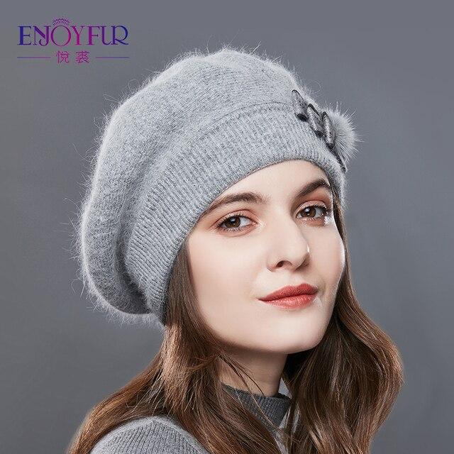 ENJOYFUR Берет шапка женская зимняя вязаная теплая модная из кашемира и кроличьей шерсти с бантом для женщины для дамы