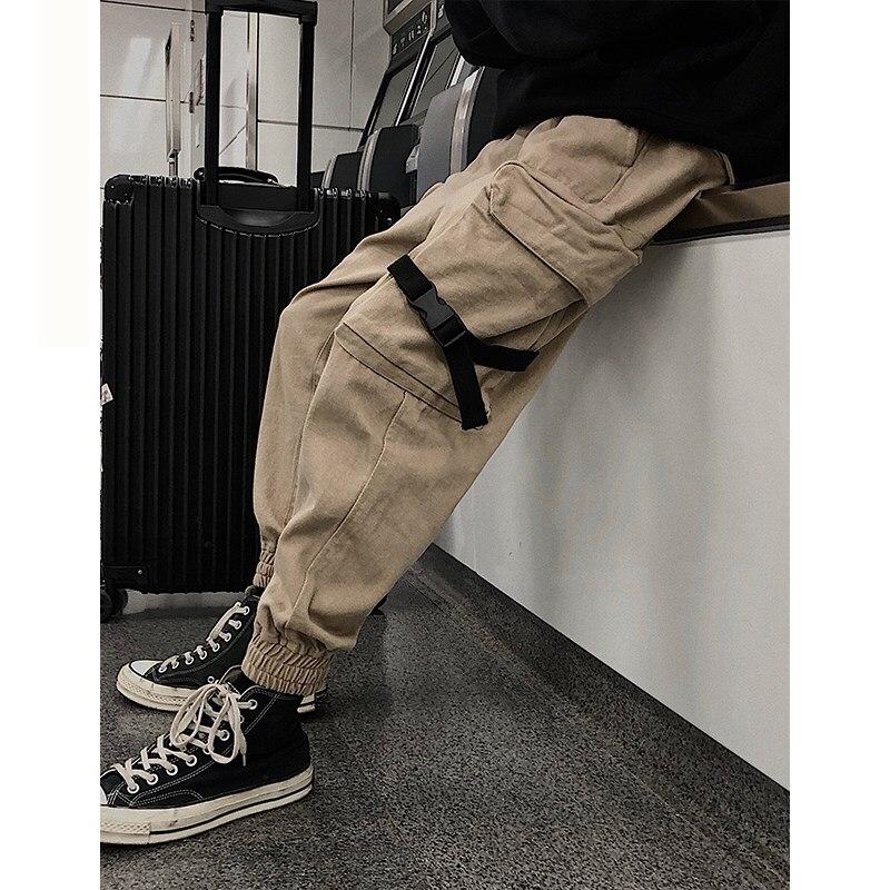 Mens Cargo Pants Men Overalls 2018 Male Pockets Ribbon Harem Joggers Pants Man Hip Hop Tracksuit Bottoms Autumn Sweatpants