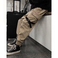 Mens Cargo Pants Men Overalls 2018 Male Pockets Ribbon Harem Joggers Man Hip Hop Tracksuit Bottoms Autumn Sweatpants