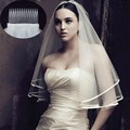 Bridal veil comb 2016 sexy yarn-dyed monolayer real photos with cheap beige white gauze wedding veil and comb FR478