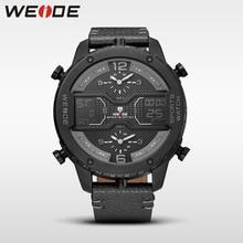 лучшая цена WEIDE 6401 luxury Big dial watch quartz men leather sports watches analog automatico reloj digital hombre waterproof alarm clock