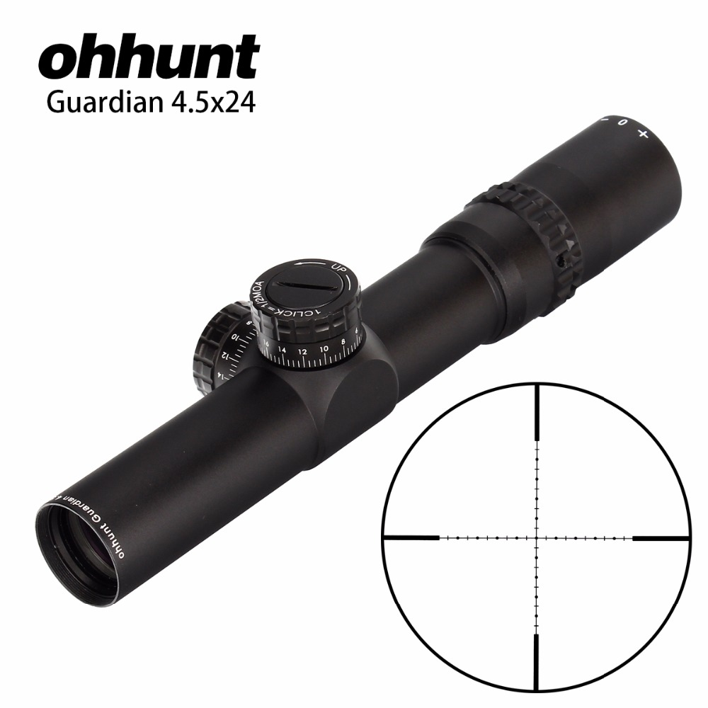 Hunting ohhunt Guardian 4.5x24 Rifle Scope 30mm Tube Tactical Optics Sight 1/2 Half Mil Dot Reticle Turrets Reset Riflescope tactial qd release rifle scope 3 9x32 1maol mil dot hunting riflescope with sun shade tactical optical sight tube equipment