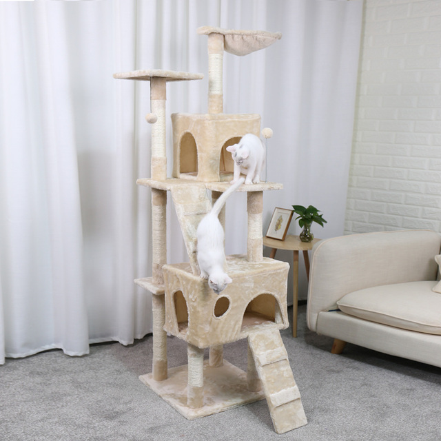 PAWZ Road Cat Furniture Multi-layer Cat Tree with Ladder And Toys Sisal Scratching Post Climbing Jumping Frame With Nest Cat Toy
