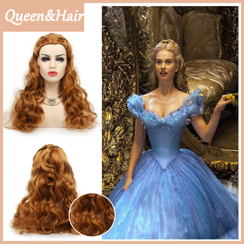 Women's Cinderella Live Action Movie Cosplay Wigs Belle Braided Long Curly Princess Costume Dress-Up Hair Wig (Brown)
