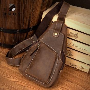 Genuine Leather Bag Men's Crossbody Bags Men Messenger Bags Crazy Horse Leather Phone Chest Pack Waist Small Belt Bag Male