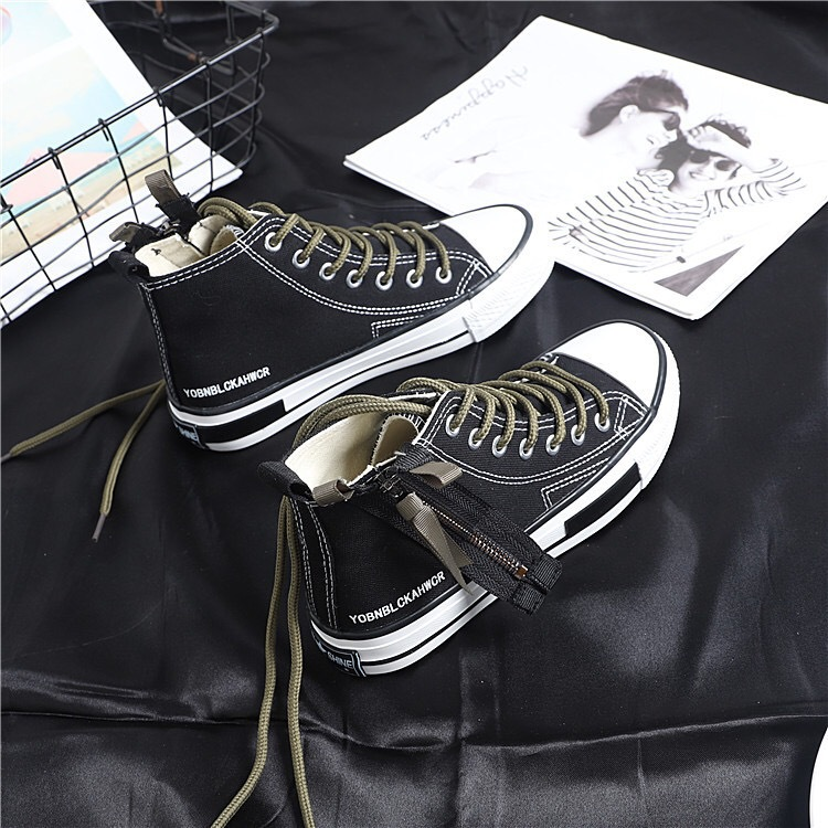Casual Chaussures De Chaussures Simple Toile Automne La Noir blanc Vent Femmes Tendance Rétro Confortable Respirant Haute Nouvelle Mode 2018 8at4Z8