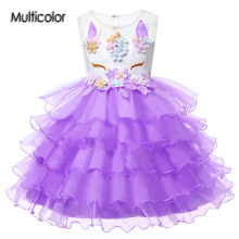 Multicolor Wedding Dress Girls Costume Cute Party Princess Embroideryunicorn Baby Clothing Children's Dresses Women's Appliques
