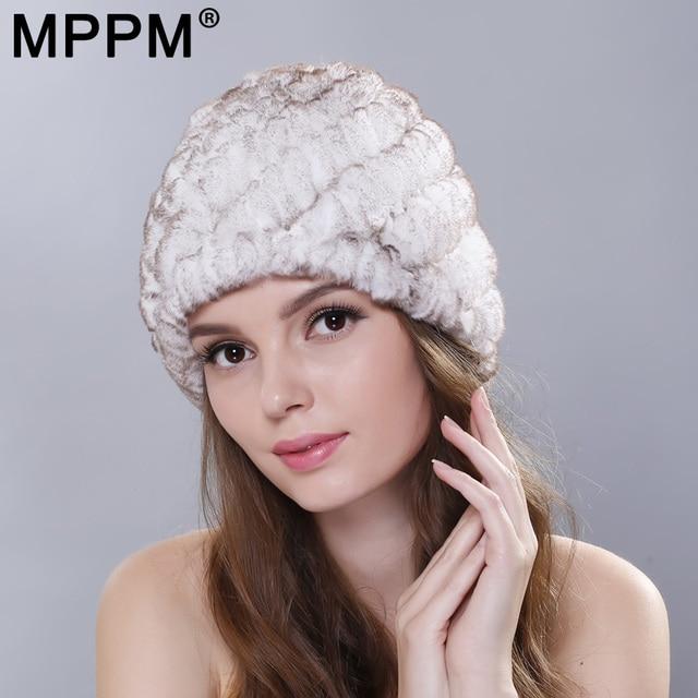 00a5a3986c5f0 MPPM Russian Winter Knitted Rabbit Fur Cap Women Genuine Rabbit Fur Hats  Caps Female Women s Hat Natural Rex Rabbit Fur Hats